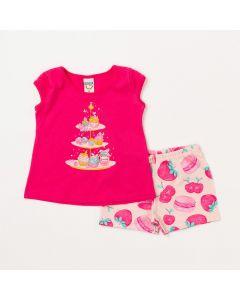 Conjunto de Bebê Menina Camiseta Pink Doces e Short Salmão Estampado