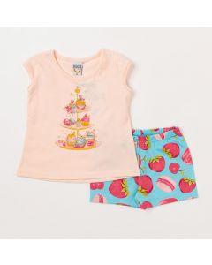 Conjunto de Bebê Menina Camiseta Salmão Doces e Short Azul Estampado