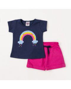 Conjunto de Bebê Verão Feminino Blusa Azul Marinho e Short Pink