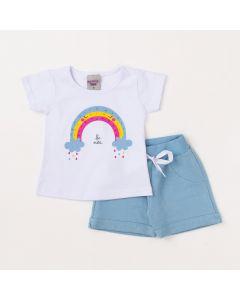 Conjunto de Bebê Verão Feminino Short Azul e Blusa Branca