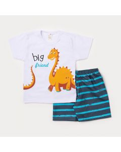 Conjunto de Criança Camiseta Branca Dinossauro Braquiossauro e Bermuda Azul Listrada