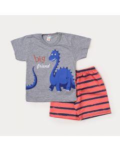 Conjunto de Criança Camiseta Cinza Dinossauro Braquiossauro e Bermuda Laranja Listrada