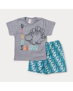 Conjunto de Criança Camiseta Cinza Dinossauro Stegosaurus e Bermuda Verde Estampada