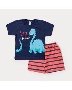 Conjunto de Criança Camiseta Marinho Dinossauro Braquiossauro Bermuda Laranja Listrada
