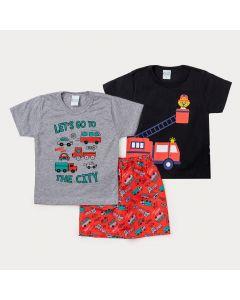 Conjunto de Roupa de Menino com 2 Camisetas e 1 Bermuda Laranja Estampada