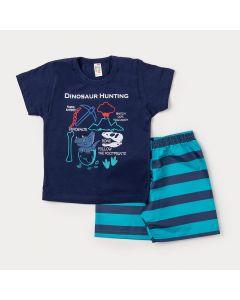 Conjunto de Roupa para Criança Bermuda Azul Listrada e Camiseta Marinho Dinossauro