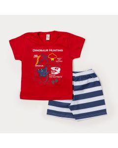 Conjunto de Roupa para Criança Bermuda Azul Listrada e Camiseta Vermelha Dinossauro