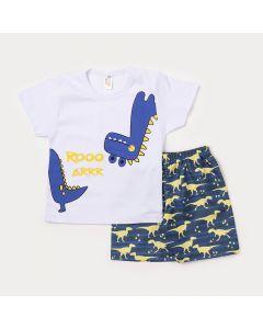 Conjunto de Roupa para Criança Camiseta Branca Dinossauro e Bermuda Azul Estampada