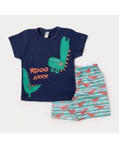 Conjunto de Roupa para Criança Camiseta Marinho Dinossauro e Bermuda Verde Estampada