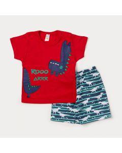 Conjunto de Roupa para Criança Camiseta Vermelha Dinossauro e Bermuda Azul Estampada