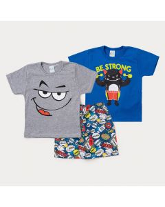 Conjunto de Roupa para Menino com 2 Camisetas de Algodão e 1 Bermuda Estampada