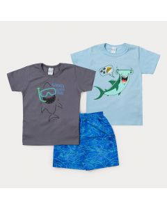 Conjunto Infantil 2 Camisetas Tubarão e 1 Bermuda Azul