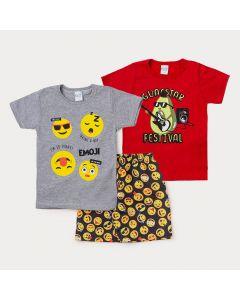 Conjunto Infantil com 2 Camisetas e 1 Bermuda Estampada para Menino