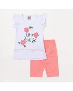 Conjunto Infantil Feminino Blusa Branca Estampada e Short Rosa