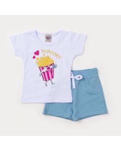 Conjunto Infantil Feminino Blusa Branca Pipoca e Shorts Azul Claro
