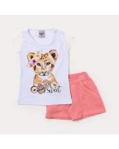 Conjunto Infantil Feminino Blusa Branca Tigre e Short Rosa com Bolso