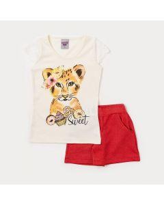 Conjunto Infantil Feminino Blusa Marfim Tigre e Short Vermelho com Bolso