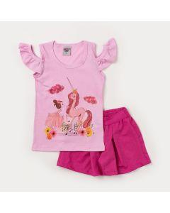 Conjunto Infantil Feminino Blusa Rosa Unicórnio e Short Pink