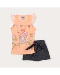 Conjunto Infantil Feminino Blusa Salmão Estampada e Short Preto