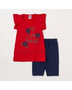 Conjunto Infantil Feminino Blusa Vermelha Estampada e Short Marinho