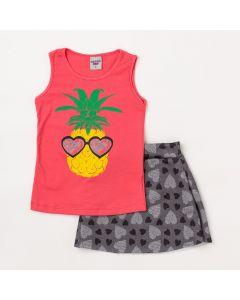 Conjunto Infantil Feminino Regata Abacaxi Vermelho e Saia Preta