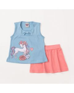 Conjunto Infantil Feminino Regata Azul Claro e Saia Curta Rosa
