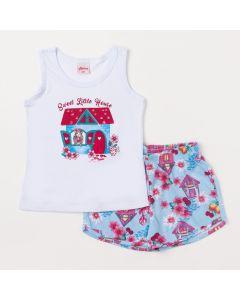 Conjunto Infantil Feminino Short Azul Estampado e Regata Branca com Estampa