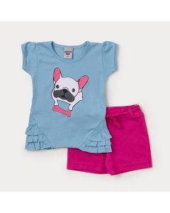 Conjunto Infantil Feminino Short Pink e Blusa Azul com Cachorrinho