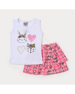Conjunto Infantil Feminino Short Rosa Estampado e Regata Branca com Estampa