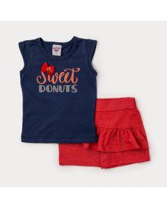 Conjunto Infantil Feminino Short Saia Vermelho e Blusa Azul Marinho
