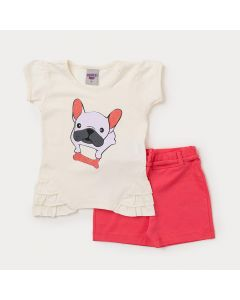 Conjunto Infantil Feminino Short Vermelho e Blusa Marfim com Cachorrinho