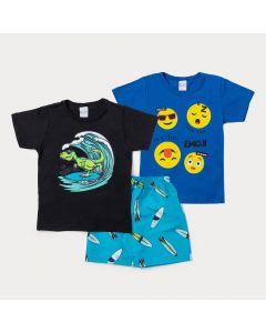 Conjunto Infantil Masculino 2 Camisetas Estampadas e 1 Bermuda Azul