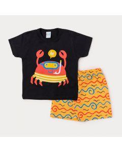 Conjunto Infantil Masculino Bermuda Amarela Estampada e Camiseta Preta Siri