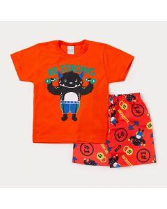 Conjunto Infantil Masculino Bermuda Laranja Estampada e Camiseta Laranja Monstro