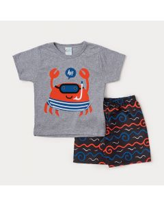 Conjunto Infantil Masculino Bermuda Preta Estampada e Camiseta Cinza Siri