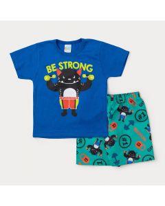 Conjunto Infantil Masculino Bermuda Verde Estampada e Camiseta Azul Monstro