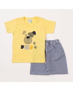 Conjunto Infantil Masculino Camiseta Amarela Cachorro e Bermuda Listrada Marinho