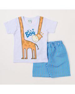 Conjunto Infantil Masculino Camiseta Branca Girafa e Bermuda Listrada Azul