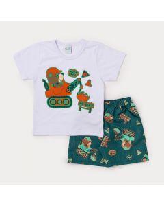 Conjunto Infantil Masculino Camiseta Branca Urso e Bermuda Verde Estampada