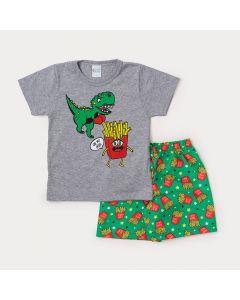 Conjunto Infantil Masculino Camiseta Cinza Batata Frita e Bermuda Verde Estampada
