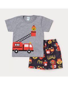Conjunto Infantil Masculino Camiseta Cinza Cachorro e Bermuda Preta Estampada