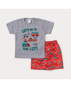 Conjunto Infantil Masculino Camiseta Cinza Carros e Bermuda Vermelha