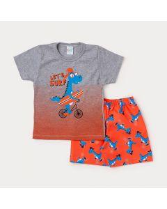 Conjunto Infantil Masculino Camiseta Cinza Dinossauro e Bermuda Laranja Estampada