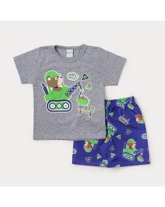 Conjunto Infantil Masculino Camiseta Cinza Urso e Bermuda Azul Estampada
