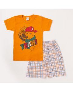 Conjunto Infantil Masculino Camiseta Laranja Cachorro e Bermuda Xadrez Branca