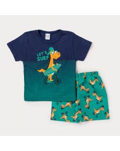 Conjunto Infantil Masculino Camiseta Marinho Dinossauro e Bermuda Verde