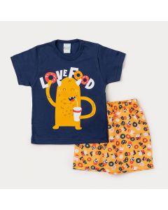 Conjunto Infantil Masculino Camiseta Marinho Monstrinho e Bermuda Amarela Estampada