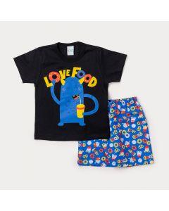 Conjunto Infantil Masculino Camiseta Preta Monstrinho e Bermuda Azul Estampada