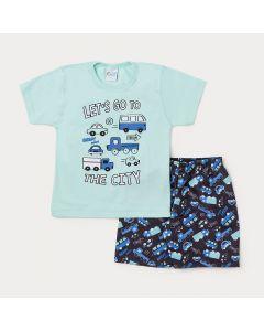 Conjunto Infantil Masculino Camiseta Verde Carros e Bermuda Preta Estampada