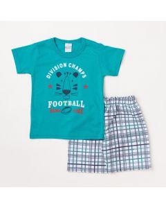 Conjunto Infantil Masculino Camiseta Verde Futebol Americano e Bermuda Branca Xadrez